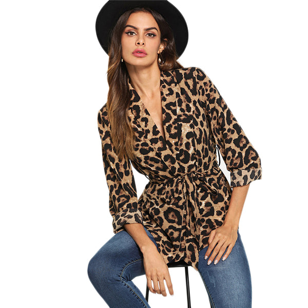 Multicolor Highstreet Office Lady Shawl Collar Belted Leopard Print Elegant Blazer 2018 Autumn Workwear Women Outerwear - Modemoven