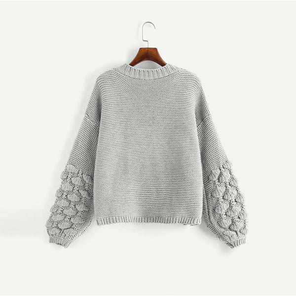 Grey Preppy Campus Crochet Bishop Sleeve Marled Solid Cardigan Casual Sweater  2018 Autumn Elegant Women Sweaters - Modemoven