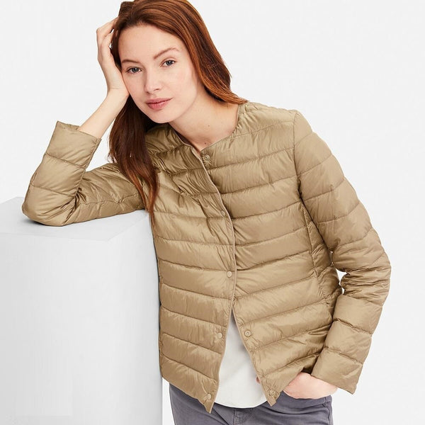 Matt Fabric Light Jacket Female Ultra Light Down Jacket Women Slim Windbreaker Without Collar Lightweight Warm Coat - Modemoven