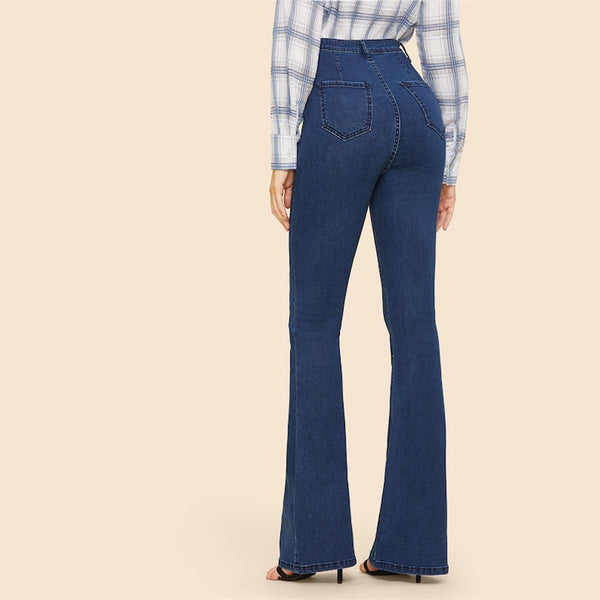 SHEIN Vintage Blue Button Up Flare Hem Mid Waist Stretchy Jeans Women Office Lady Minimalist 2019 Spring Fashion Solid Trousers - Modemoven