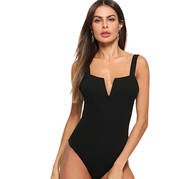 Sexy Black V Cut Front Form Fitting Straps  Mid Waist Sleeveless Skinny Bodysuit Women 2019 Summer Party Bodysuits - Modemoven