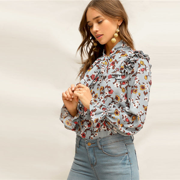Elegant Multicolor Tie Neck Layered Ruffle Trim Floral Top Flounce Sleeve Blouse Women Spring Office Lady Boho Blouses - Modemoven