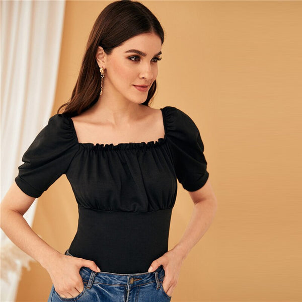 Black Garment Eyelets Lace Up Back Sexy Bodysuit Women Tops 2019 Summer Puff Sleeve Square Neck Elegant Skinny Bodysuits - Modemoven