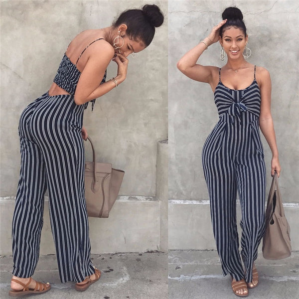 2019 Elegant Striped Sexy Spaghetti Strap Rompers Women Sets Sleeveless Backless Bow Casual Wide Legs Jumpsuits Leotard Overal - Modemoven