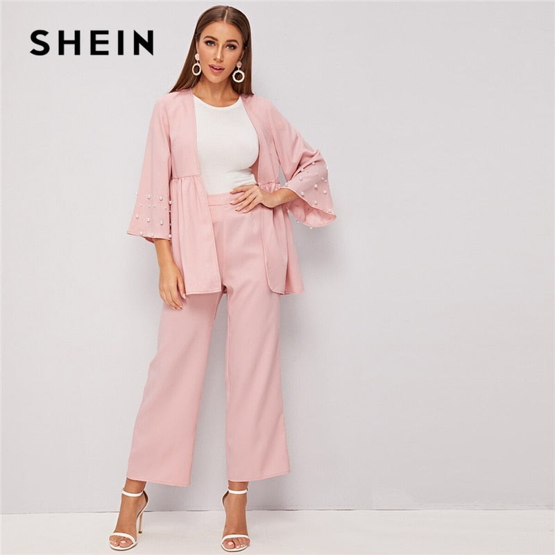 SHEIN Light Pink Pearls Beaded Coat and Wide Leg Pants Sets Autumn 2 Piece Set Women Elegant Office Ladies Outfits Two Piece Set - Modemoven