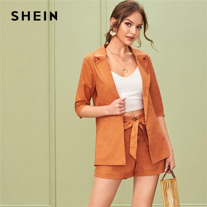 SHEIN Solid Notched Neck Elegant Blazer With Belted Shorts Suit Set Women Outfits 2019 Autumn Office Ladies Two Piece Sets - Modemoven