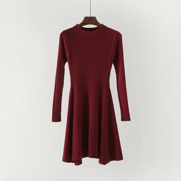 Knitted Sweater Irregular Hem Mini Dresses - Modemoven