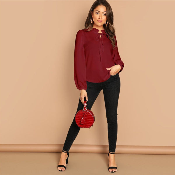 Burgundy Frilled Neck Knot Solid Casual Top Women 2019 Spring Plain Womens Tops and Blouses Long Sleeve Workwear Blouse - Modemoven