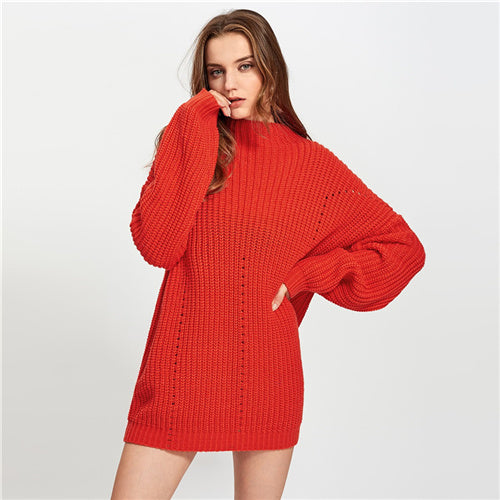 Stand Collar Exaggerate Eyelet Casual Long Sweater Women Tops 2019 Winter Long Sleeve Cut Out Oversized Ladies Sweaters - Modemoven