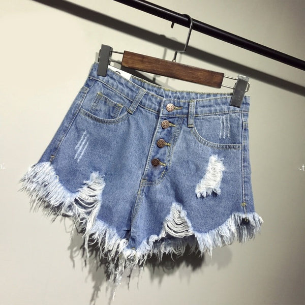 2017 new arrival casual summer hot sale denim women shorts high waists fur-lined leg-openings Plus size sexy short Jeans TJ1115 - Modemoven