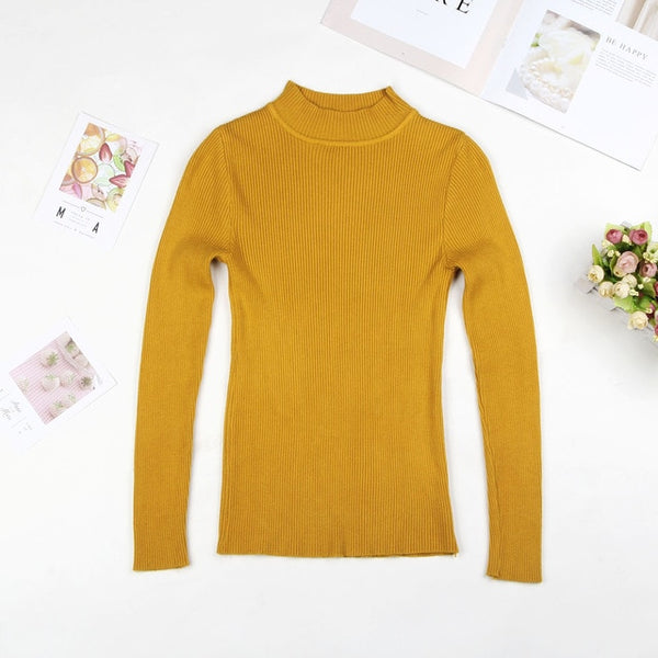 2019 Fall New Women Turtleneck Sweater Pullover Black Pink Knitted Slim Sweaters Tops Winter Casual Sweater Jumper Top - Modemoven