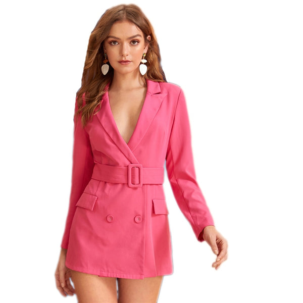 Bright Pink Deep V Neck Notched Elegant Blazer Dress With Belt Women Autumn Double Breasted Pocket Front Blazer Dresses - Modemoven