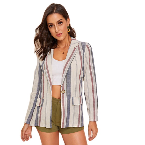 Multicolor Notched Collar Flap Pocket Detail Striped Blazer Coat Women Autumn Single Button Casual Outwear Blazers - Modemoven