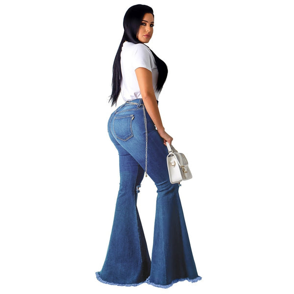 Tsuretobe Fashion Denim Flare Pants Women Retro Ripped Jeans Wide Leg Trousers Lady Casual Bell-Bottoms Flare Pant Female - Modemoven