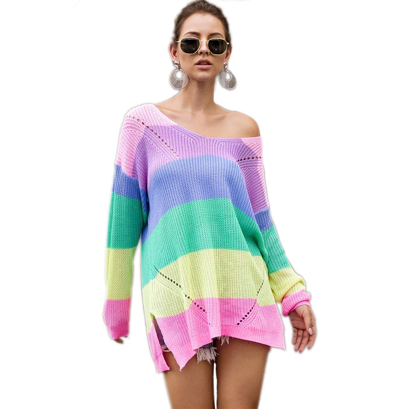 Rainbow Striped Drop Shoulder Long Sweater Women Tops 2019 Autumn Streetwear Long Sleeve V Neck Oversized Split Sweaters - Modemoven