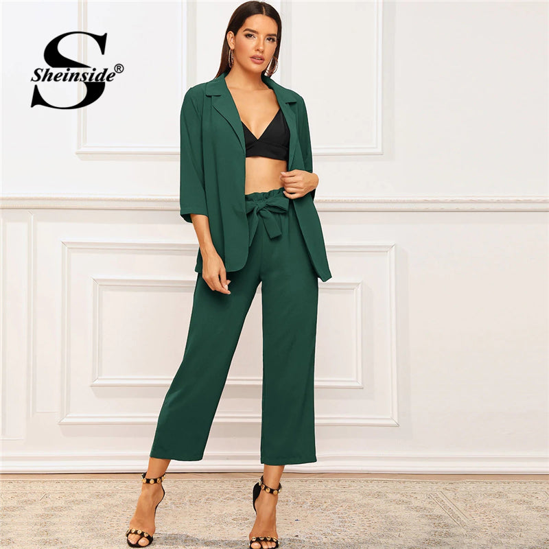 Sheinside Elegant Green 3/4 Sleeve Blazer And Paperbag Waist Belted Pants Women 2019 Autumn Blazer 2 Piece Set Ladies Workwear - Modemoven