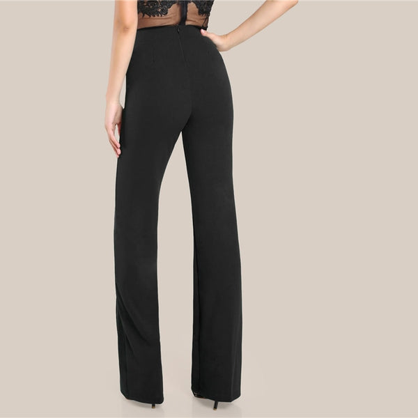 Ginger High Rise Piped Pants Elegant Wide Leg Zipper Fly Plain Workwear Trousers Women Stretchy Highstreet Autumn Pants - Modemoven