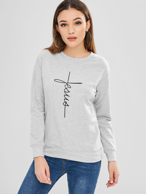 Contrasting Letter Print Graphic Sweatshirt Long Sleeve Women Hoodies Autumn O-Neck Pullovers Tunic Shirt Classic Hoodies - Modemoven