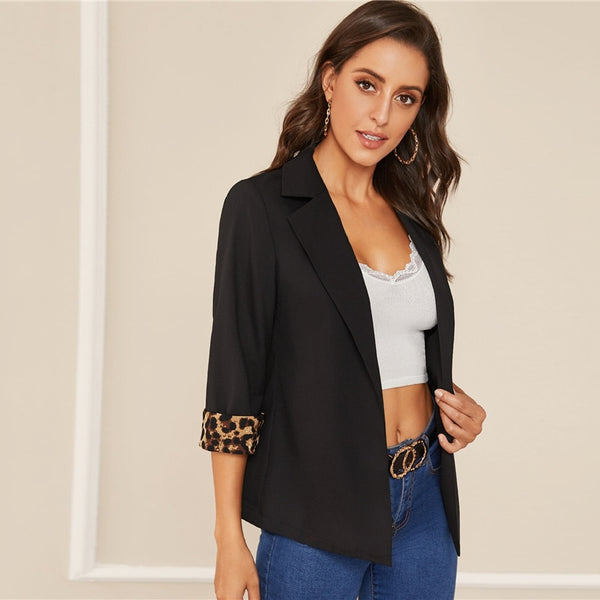 Notched Collar Leopard Print Cuffed Sleeve Elegant Blazer Women 2019 Autumn Roll Up Sleeve Office Ladies Blazer Coats - Modemoven