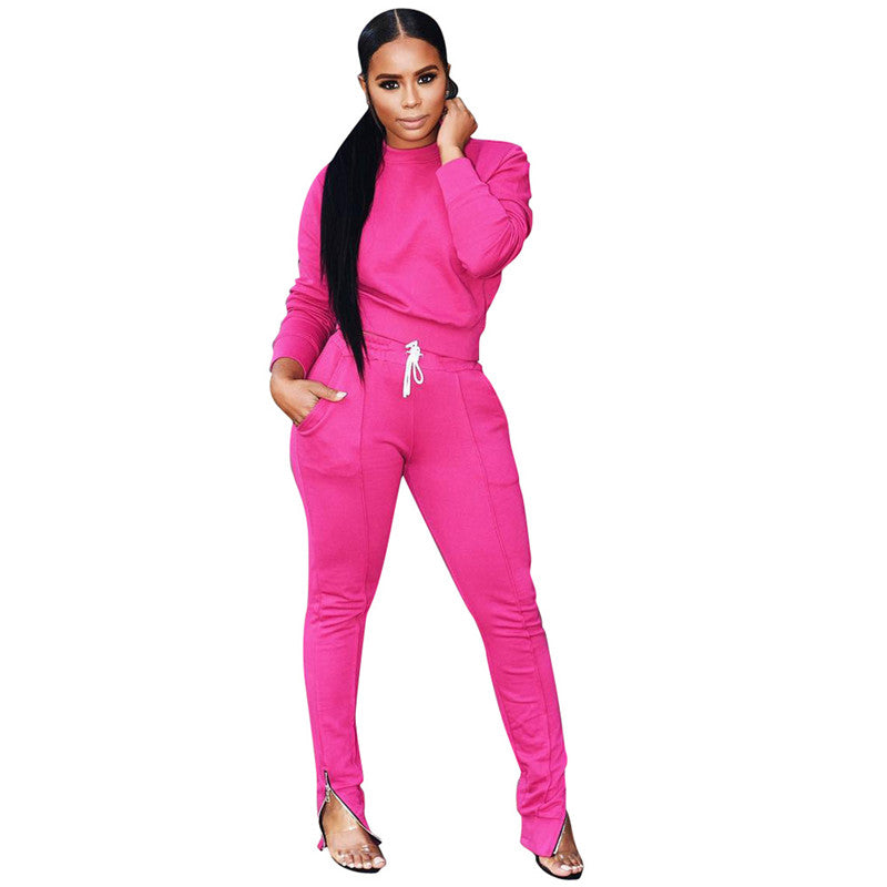 Two Piece Set Tracksuit Women Crop Top and Pockets Full Length Pants Lounge Wear 2 Piece Outfits Jogging Sweat Suits Women Set - Modemoven