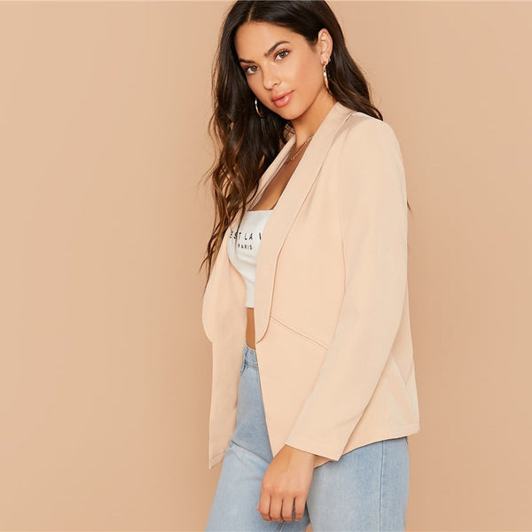 Solid Shawl Collar Form Fitted Elegant Blazer Women 2019 Autumn Long Sleeve Office Ladies Open Front Basic Blazer Coats - Modemoven