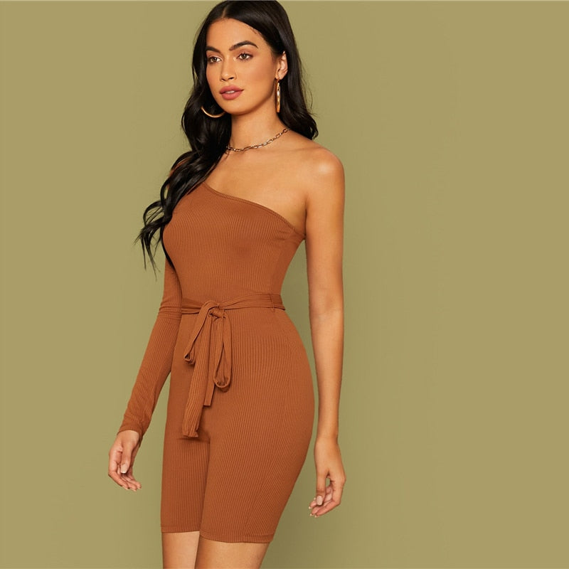 Brown One Shoulder Rib-knit Belted Cycling Romper Women Playsuit Autumn Solid Mid Waist Skinny Party Sexy Playsuits - Modemoven