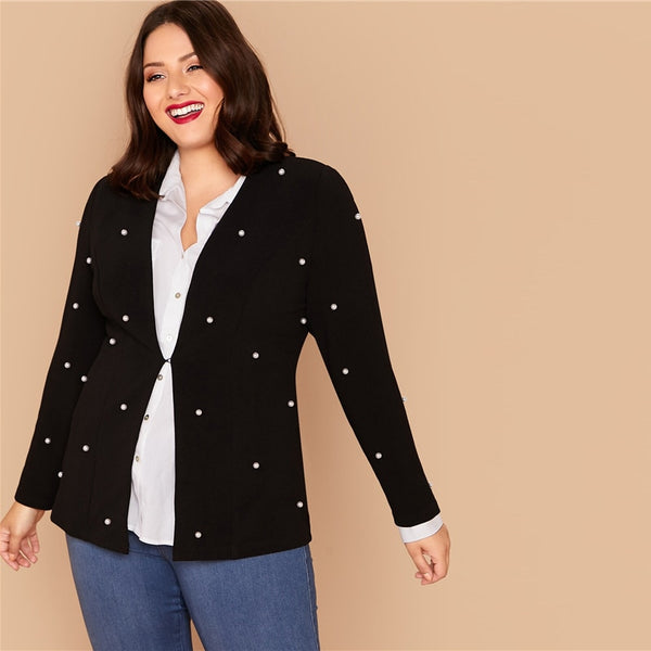 Plus Size Black Hook and Eye Pearls Beaded Blazer Women Autumn Slim Fit Long Sleeve Elegant Plus Blazers - Modemoven