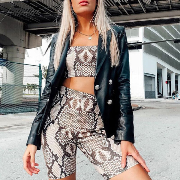 Women's Set 2 Pieces Outfits Snakeskin Digital Print Strapless Bandeau Tube Top High Waist Biker Shorts Fitness Sport Tracksuit - Modemoven