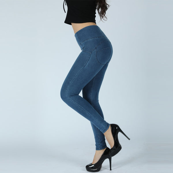 Melody Light Blue High Waist Sexy Push Up Denim Jeans For Women High Rise Skinny-Fit Jeans Woman In Stretch Cotton - Modemoven