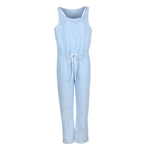 Denim Wash Overall For Summer Lady Women arrival Cool Street Blue Plain Women Sleeveless Loose Jeans Jumpsuit Long Pants Rompers - Modemoven