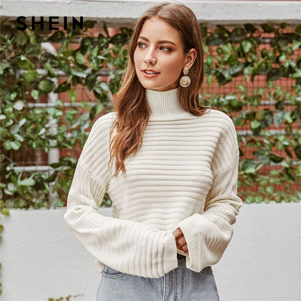 White Solid High Neck Drop Shoulder Winter Sweater Women Tops 2019 Autumn Highstreet Long Sleeve Basic Casual Sweaters - Modemoven