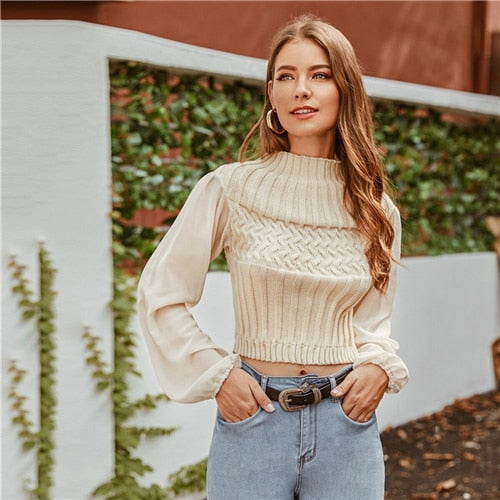 Beige Mock-neck Mixed Knit Crop Sweater Women Autumn Winter Mesh Bishop Sleeve Solid Casual Chic Sweaters - Modemoven