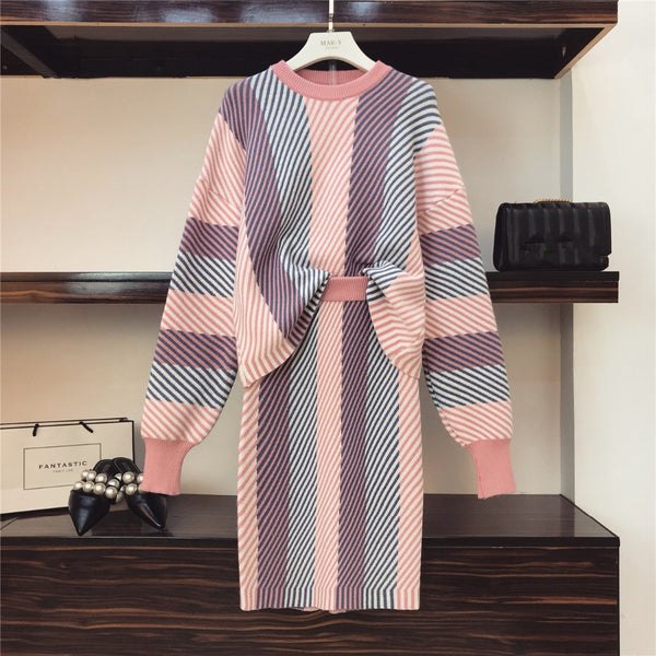 HIGH QUALITY Women Set 2019 Spring Knit Sweater Pullovers+ Skirt Set 2 Pieces Causal Suits Ladies Irregular Striped Knitted Suit - Modemoven
