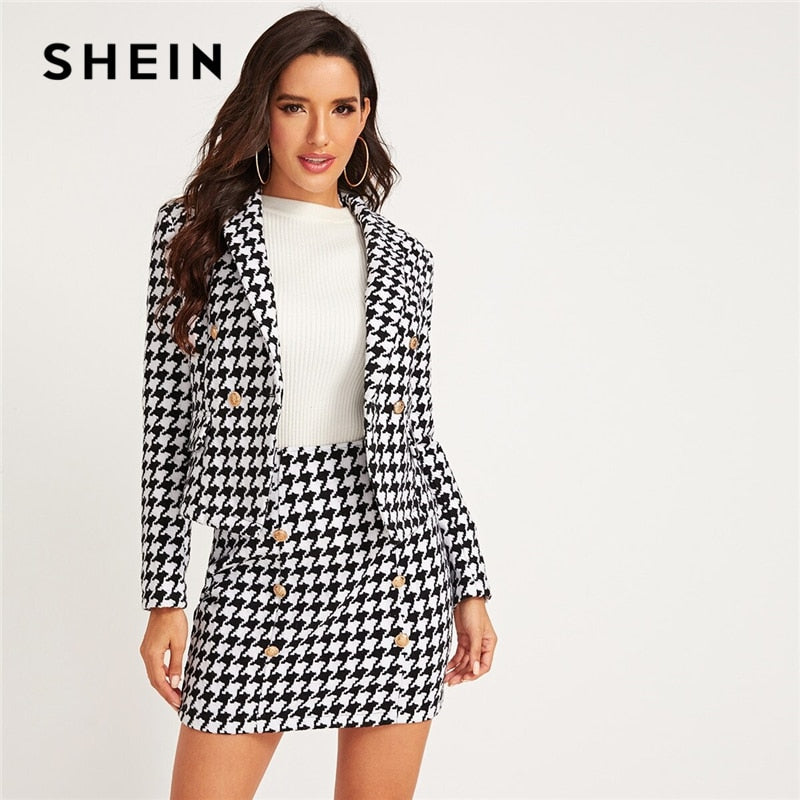 SHEIN Black And White Shawl Collar Houndstooth Print Blazer And Bodycon Skirt Elegant Set 2019 Autumn Ladies Buttoned Suit Sets - Modemoven