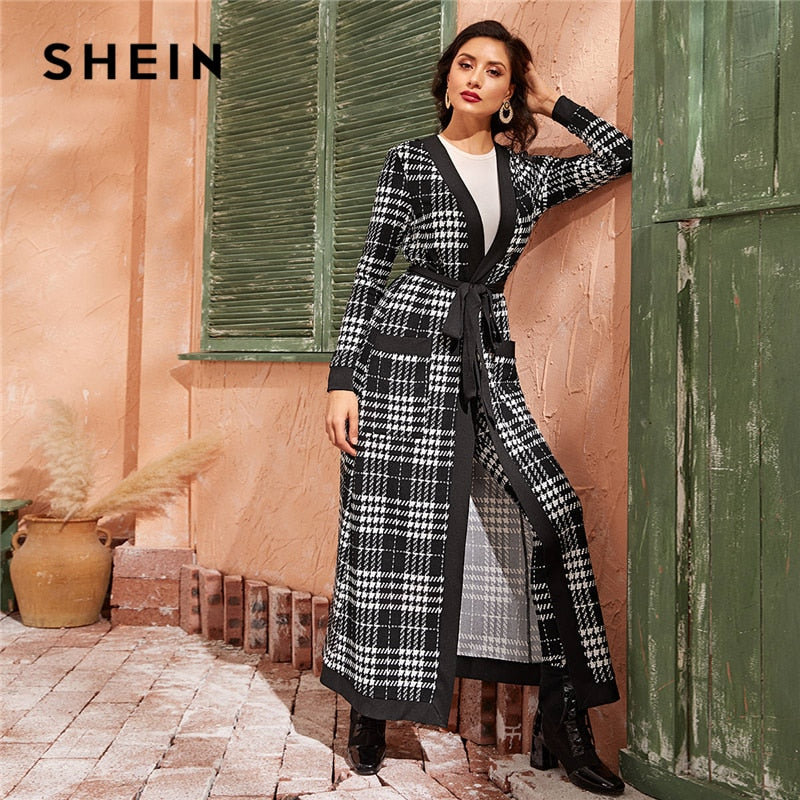 SHEIN Black And White Double Pocket Side Belted Long Coat And Pants Elegant Set 2019 Autumn Streetwear Plaid Ladies Suit Sets - Modemoven
