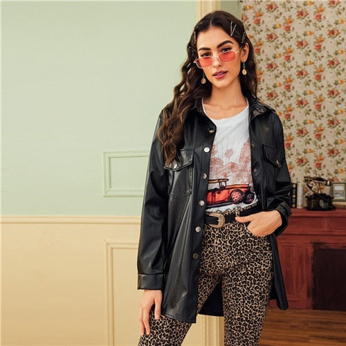Black Dual Pocket Button Front Belted Casual PU Coat Women 2019 Autumn Streetwear Faux Leather Long Sleeve Outwear Coats - Modemoven