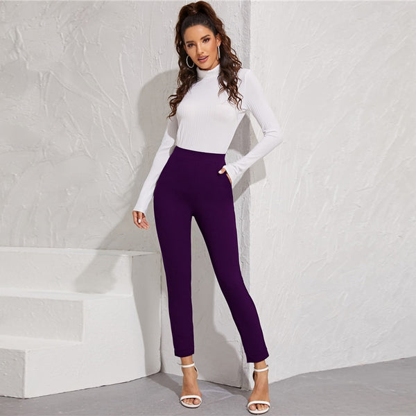 Solid Elastic Waist Pocket Side Split Hem Elegant Pants Women Bottoms Autumn High Waist Office Ladies Skinny Trousers - Modemoven