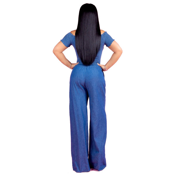Hot sale Europe and the fold a word shoulder denim jumpsuits with short sleeves Sexy wide legged jumpsuits0224 - Modemoven