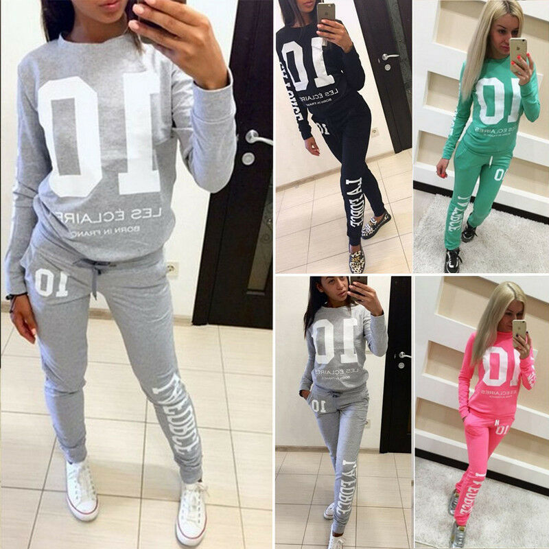 Fashion Women Ladies Stylish Letters Printing Long Sleeve Hoodies Long Pants Trousers 2PCS Tracksuit Lounge Wear Outfits Set - Modemoven
