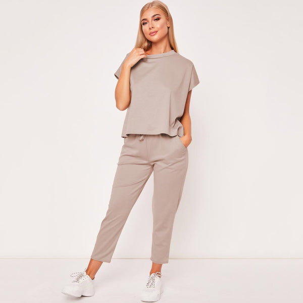 Retro Hot 2019 New Ladies Women's Suit Summer Lace Up Joggers Plain Lounge Wear Tracksuit Lounge Wear Casual Loose Solid Sets - Modemoven