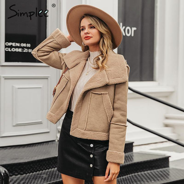 Fashion suede patchwork women faux fur coat Autumn winter big pockets female warm jackets Outwear office ladies overoats - Modemoven