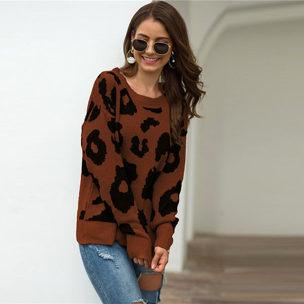 Leopard Print Winter Casual Sweater Women 2019 Autumn Streetwear Round Neck Long Sleeve Solid Ladies Basic Sweaters - Modemoven