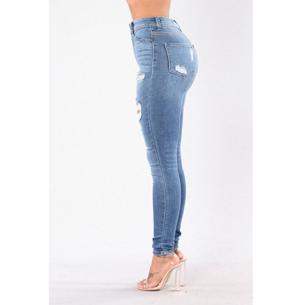 High Waist Skinny torn holes jeans 2019 New Plus Size Pencil Pants Hot sale jeans for Women Stretch Slim Calf Stretch blue Jeans - Modemoven