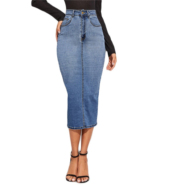 Blue Split Back Bodycon Denim Skirts Womens Spring Autumn High Waist Slim Fitted Casual Long Pencil Skirt - Modemoven