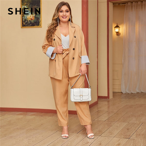 SHEIN Plus Size Khaki Double Breasted Blazer and Paperbag Waist Belted Pants 2 Piece Set Women Autumn Casual Two Piece Sets - Modemoven