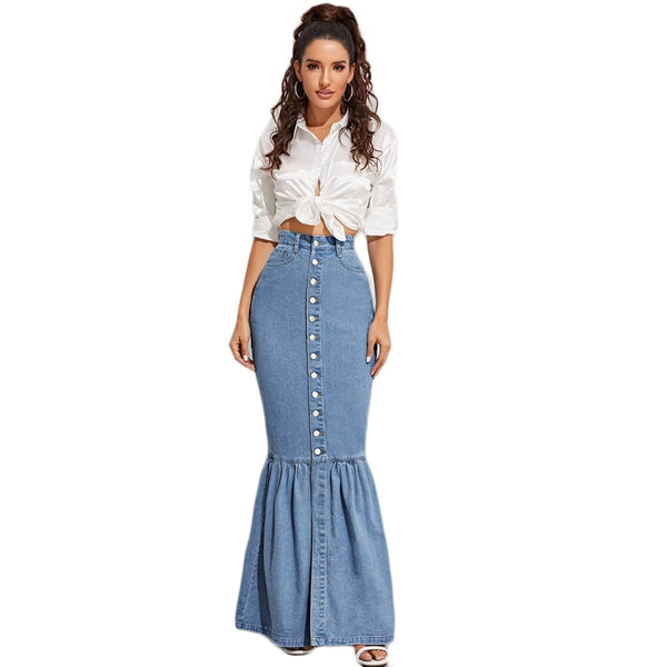 Blue Button Front Fishtail Hem Denim Maxi Skirt Women Autumn Pocket High Waist Party Casual Slim Fitted Mermaid Skirts - Modemoven