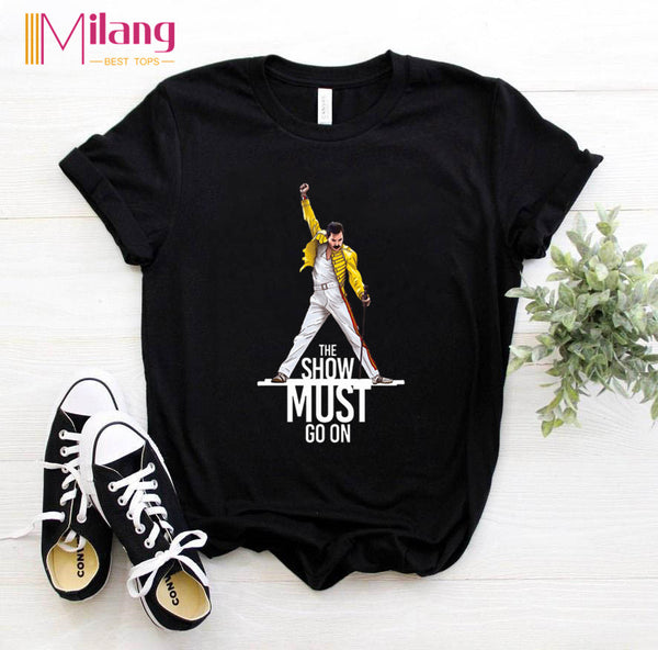 Women Freddie Mercury The Queen Band Black T-shirts Female Short Sleeve Tees 2020 Summer Brand Rock Clothing Girl Tops - Modemoven