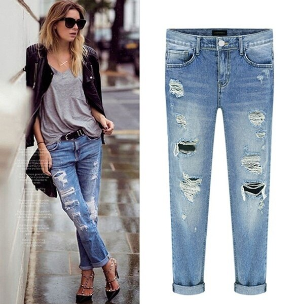 2019 Women Denim Ripped Destroyed Slouchy ripped mid waist  Jeans mujer Boyfriend Distressed Beggar femme torn Pants - Modemoven