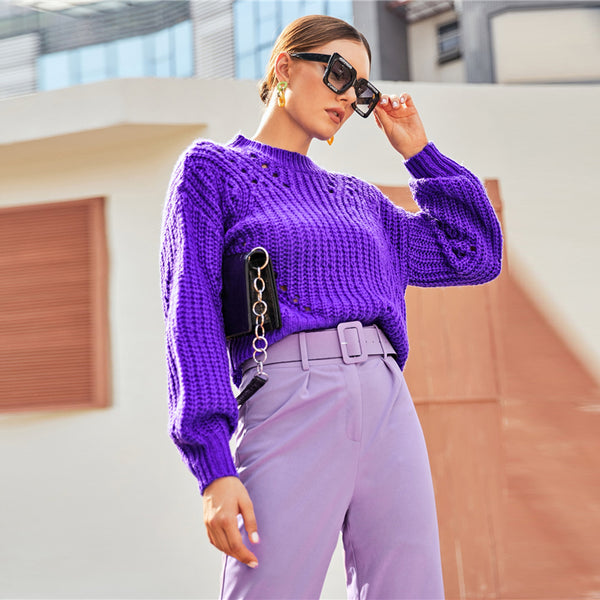 Purple Drop Shoulder Pointelle Chunky Knit Sweater Women Tops Autumn Winter Solid Bishop Sleeve O Neck Casual Sweaters - Modemoven