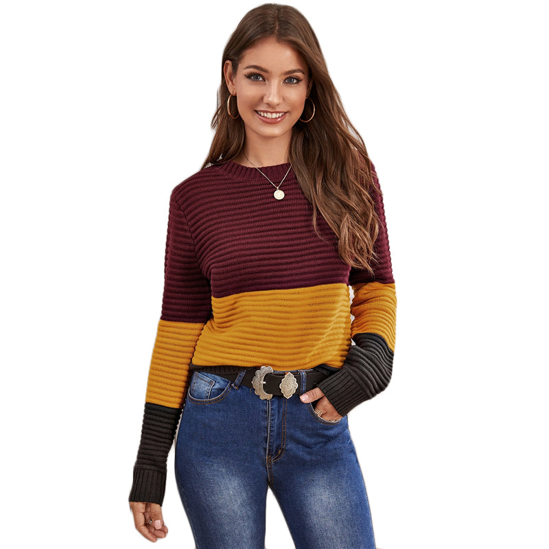 Multicolor Color Block Rib-knit Soft Warm Sweater Women Autumn Winter Streetwear Round Neck Long Sleeve Casual Sweaters - Modemoven